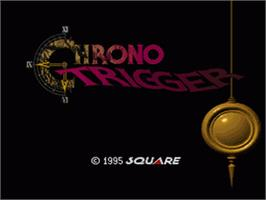 Title screen of Chrono Trigger on the Nintendo SNES.