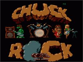 Title screen of Chuck Rock on the Nintendo SNES.
