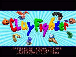 Title screen of Clay Fighter on the Nintendo SNES.