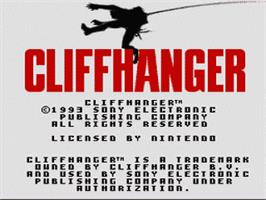Title screen of Cliffhanger on the Nintendo SNES.