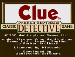 Title screen of Clue on the Nintendo SNES.