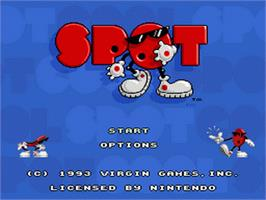 Title screen of Cool Spot on the Nintendo SNES.