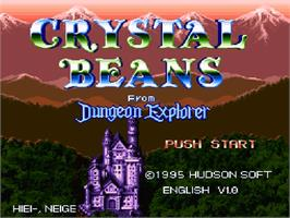 Title screen of Crystal Beans From Dungeon Explorer on the Nintendo SNES.