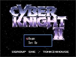 Title screen of Cyber Knight II: Chikyuu Teikoku no Yabou on the Nintendo SNES.