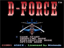 Title screen of D-Force on the Nintendo SNES.