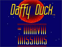 Title screen of Daffy Duck: The Marvin Missions on the Nintendo SNES.