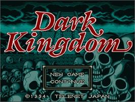 Title screen of Dark Kingdom on the Nintendo SNES.