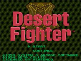 Title screen of Desert Fighter on the Nintendo SNES.