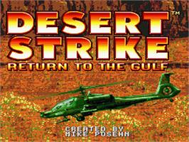Title screen of Desert Strike: Return to the Gulf on the Nintendo SNES.