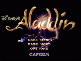 Title screen of Disney's Aladdin on the Nintendo SNES.