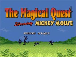 Title screen of Disney's Magical Quest Starring Mickey Mouse on the Nintendo SNES.