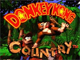 Title screen of Donkey Kong Country on the Nintendo SNES.