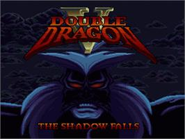 Title screen of Double Dragon V: The Shadow Falls on the Nintendo SNES.