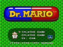 Title screen of Dr. Mario on the Nintendo SNES.