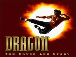Title screen of Dragon: The Bruce Lee Story on the Nintendo SNES.