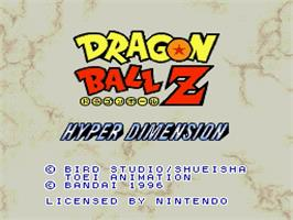 Title screen of Dragon Ball Z: Hyper Dimension on the Nintendo SNES.