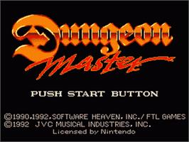 Title screen of Dungeon Master on the Nintendo SNES.