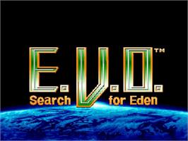 Title screen of E. V. O.: Search for Eden on the Nintendo SNES.
