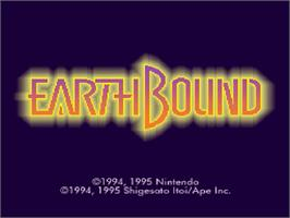 Title screen of EarthBound on the Nintendo SNES.