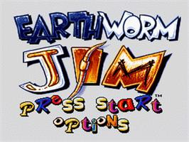 Title screen of Earthworm Jim on the Nintendo SNES.