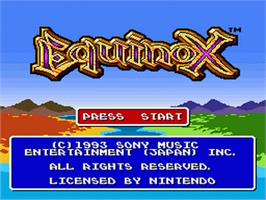 Title screen of Equinox on the Nintendo SNES.