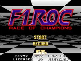Title screen of F1ROC: Race of Champions on the Nintendo SNES.