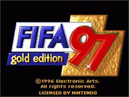 Title screen of FIFA 97: Gold Edition on the Nintendo SNES.