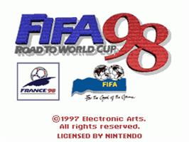Title screen of FIFA 98: Road to World Cup on the Nintendo SNES.