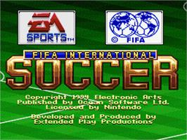 Title screen of FIFA International Soccer on the Nintendo SNES.
