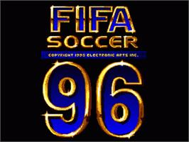 Title screen of FIFA Soccer '96 on the Nintendo SNES.
