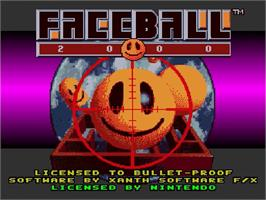 Title screen of Faceball 2000 on the Nintendo SNES.