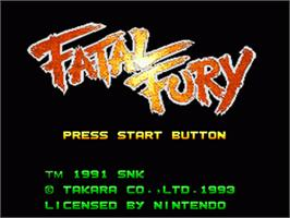 Title screen of Fatal Fury on the Nintendo SNES.