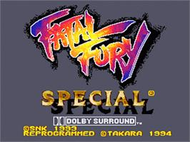 Title screen of Fatal Fury Special on the Nintendo SNES.