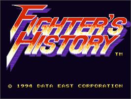 Title screen of Fighter's History on the Nintendo SNES.