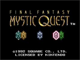 Title screen of Final Fantasy: Mystic Quest on the Nintendo SNES.