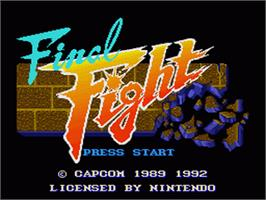 Title screen of Final Fight on the Nintendo SNES.