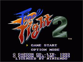 Title screen of Final Fight 2 on the Nintendo SNES.
