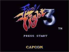 Title screen of Final Fight 3 on the Nintendo SNES.