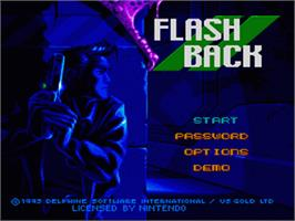 Title screen of Flashback: The Quest for Identity on the Nintendo SNES.