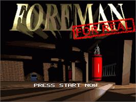 Title screen of Foreman for Real on the Nintendo SNES.