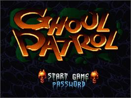 Title screen of Ghoul Patrol on the Nintendo SNES.