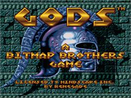 Title screen of Gods on the Nintendo SNES.