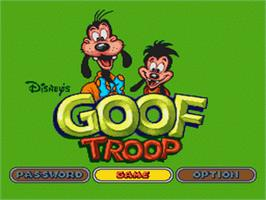 Title screen of Goof Troop on the Nintendo SNES.