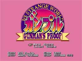 Title screen of Gunpuru: Gunman's Proof on the Nintendo SNES.