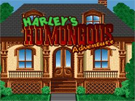 Title screen of Harley's Humongous Adventure on the Nintendo SNES.