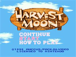 Title screen of Harvest Moon on the Nintendo SNES.