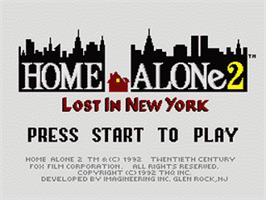 Title screen of Home Alone 2: Lost in New York on the Nintendo SNES.