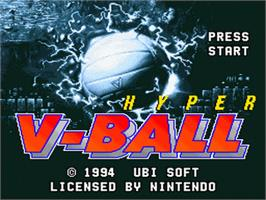 Title screen of Hyper V-Ball on the Nintendo SNES.