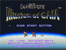 Title screen of Illusion of Gaia on the Nintendo SNES.