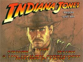 Title screen of Indiana Jones' Greatest Adventures on the Nintendo SNES.